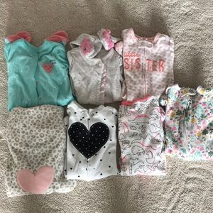 Baby Girls PJs. Mostly Carter's brand!